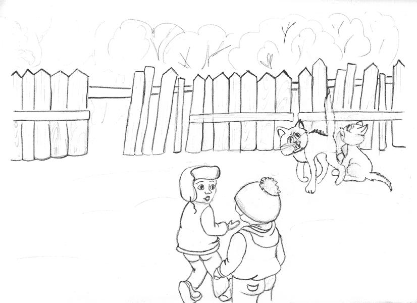 yuris creativity Карандашные эскизы иллюстраций к истории о котятах Карандашный эскиз к иллюстрации для детского рассказа Курсовая работа Завгородней Яны